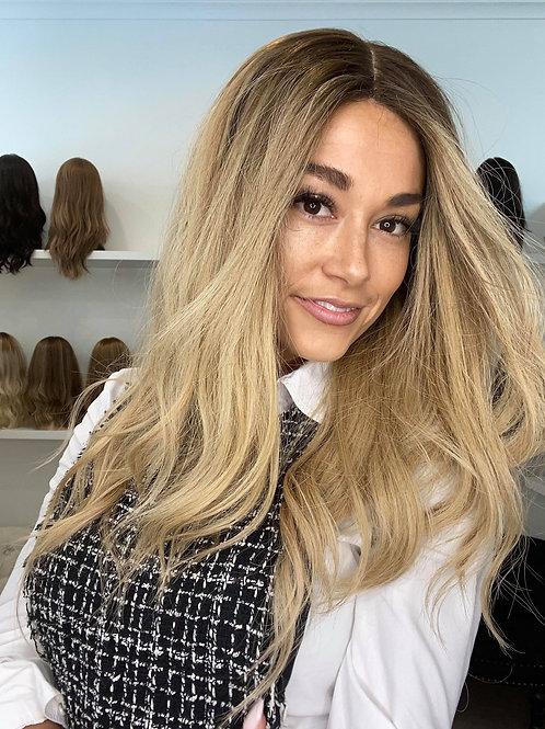 "22"" Premium Remy Wig - Light Density - Golden Blonde w/roots"