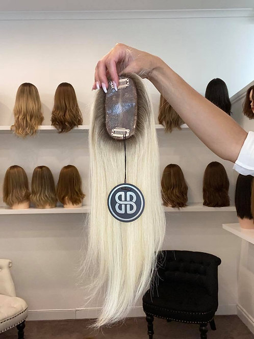 """12"""" Luxury European Micro Topper - Cool Ash Blonde w/ Roots"""