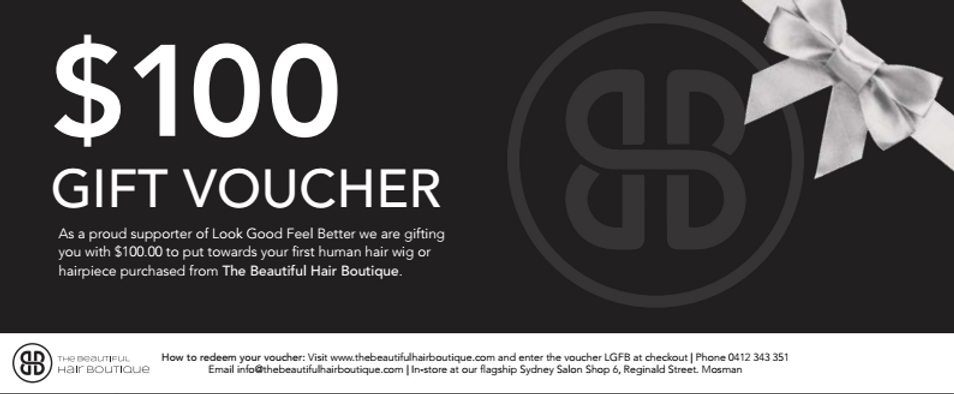 Look Good Feel Better Human Hair wig voucher for $100 provided by The Beauiful Hair Boutique. Supporting women with cancer.