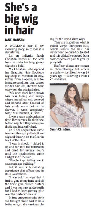 The Beautiful Hair Boutique wig store founder Sarah in Sunday Telegraph