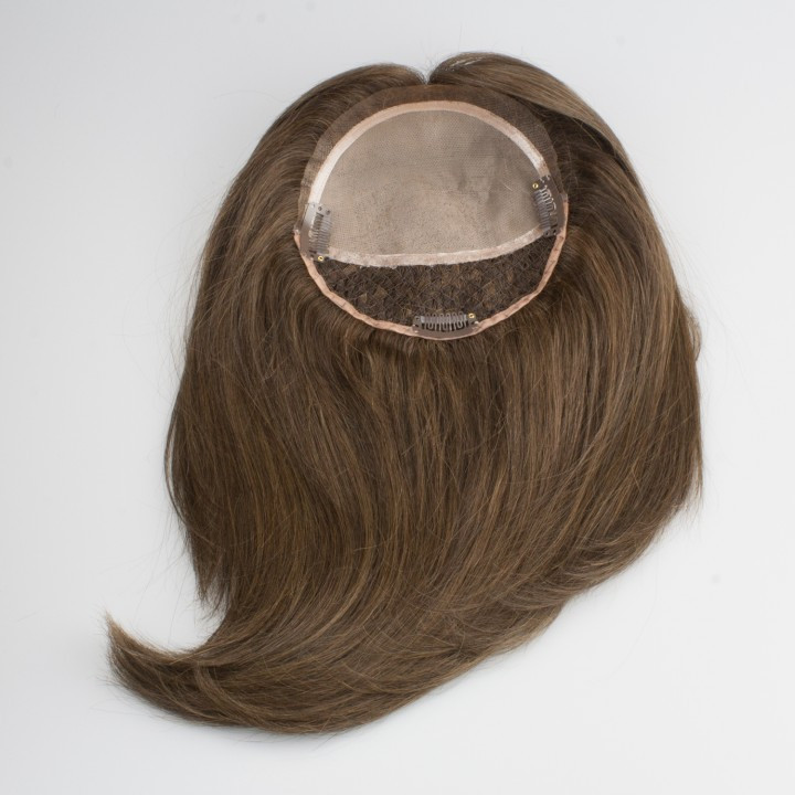 Hair topper made from human hair for women with hair loss or hair thinning