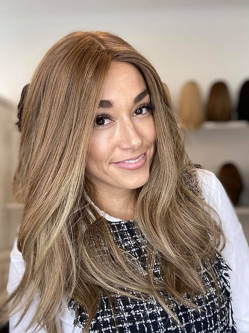 "22"" Premium Remy Human Hair Light Density Wig - Light Brown Balayage"