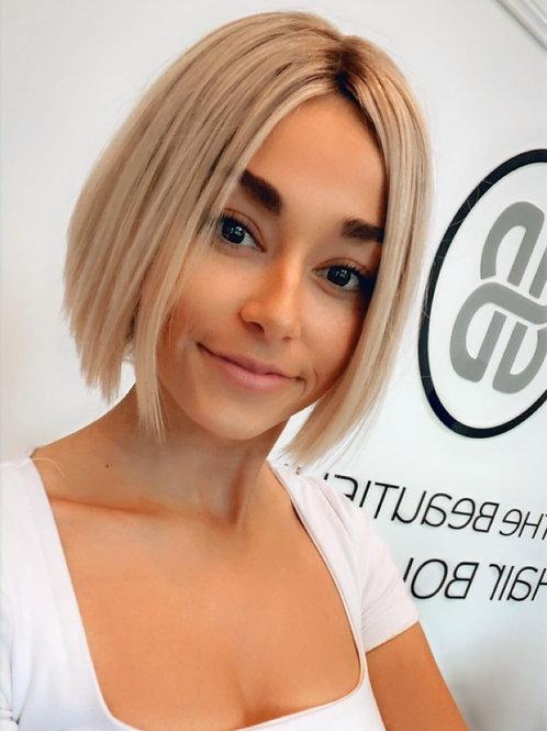 "10"" Platinum Ash Blonde Luxury European Human Hair Wig"