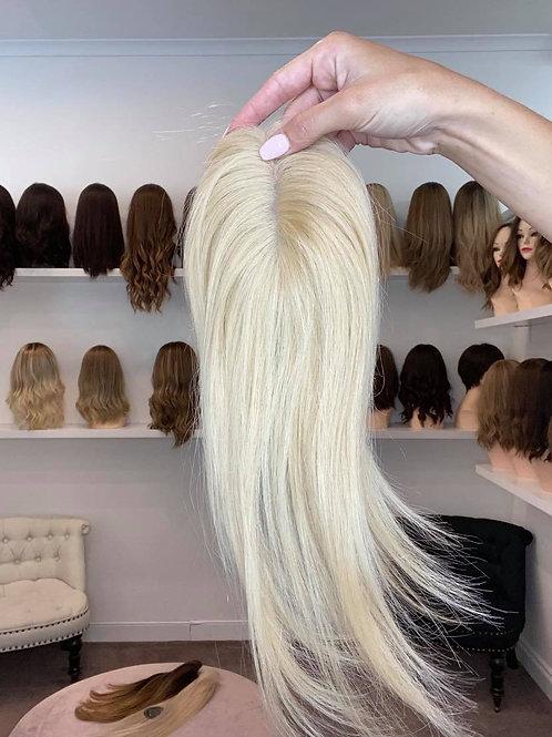 "12"" Luxury European Micro Topper - Platinum Blonde no roots"