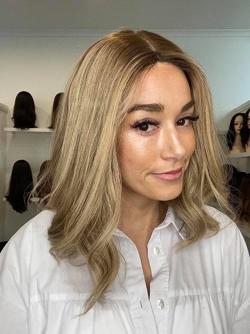 "16"" Premium Remy Wig - Ultra Light Density - Golden Blonde w/roots"