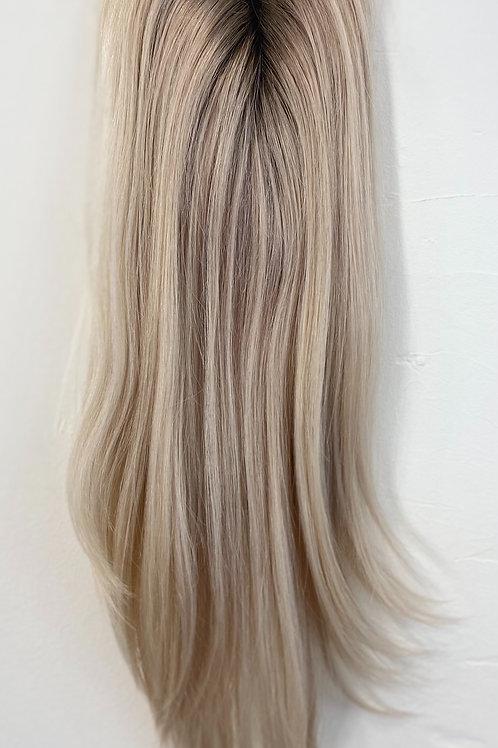 "14""Luxury Virgin European Mini Topper - Platinum Blonde w Ash Roots"