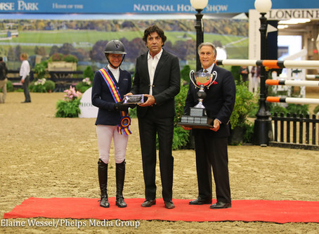M. Michael Meller Presents Style Award to Molly Ashe Cawley at the National Horse Show.