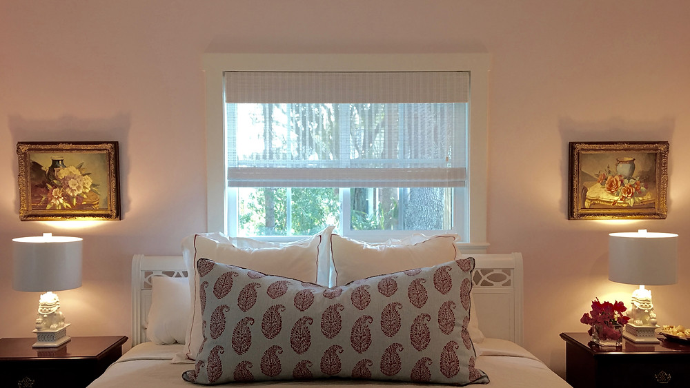 Custom Italian linens and pillow in a Peter Dunham fabric.