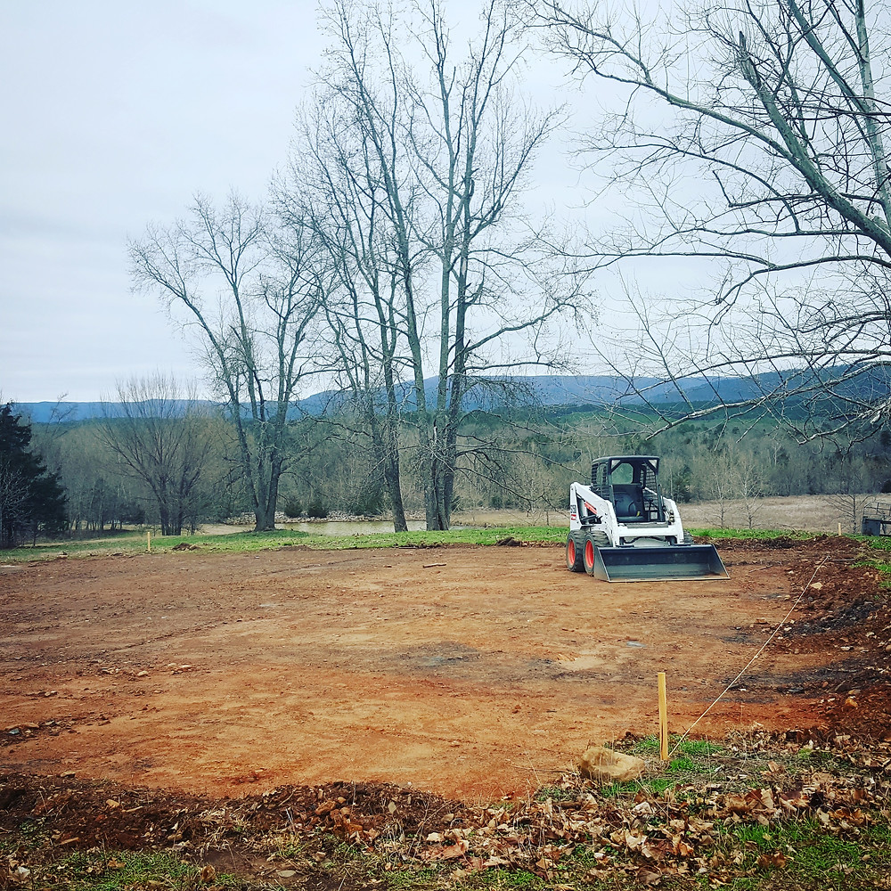 The dirt pad for the barn. Ready for the posts!