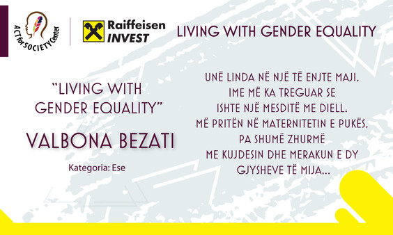 Konkursi LIVING WITH GENDER EQUALITY: Valbona Bezati