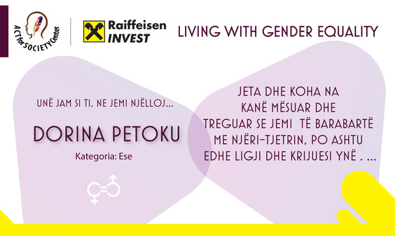 Konkursi LIVING WITH GENDER EQUALITY: Dorina Petoku