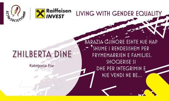 Konkursi LIVING WITH GENDER EQUALITY: Zhilberta Dine