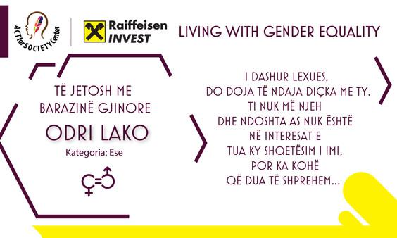 Konkursi LIVING WITH GENDER EQUALITY: Odri Lako
