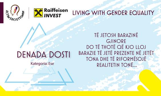 Konkursi LIVING WITH GENDER EQUALITY: Denada Dosti