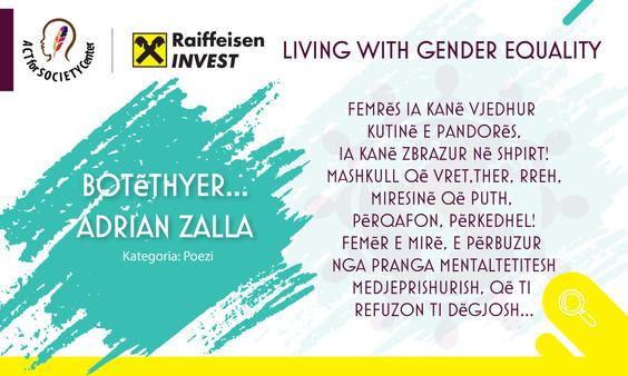 Konkursi LIVING WITH GENDER EQUALITY: Adrian Zalla
