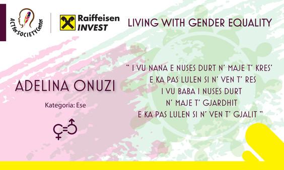 Konkursi LIVING WITH GENDER EQUALITY: Adelina Onuzi