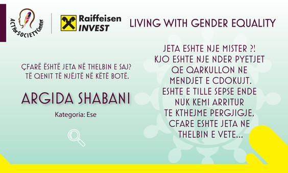 Konkursi LIVING WITH GENDER EQUALITY: Argida Shabani