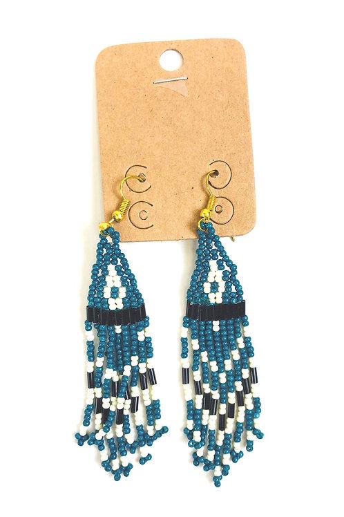 Beaded Triangle Tassel Earrings- Blue