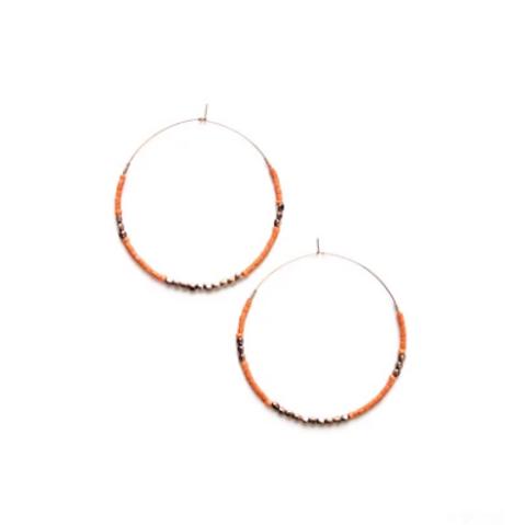 Beaded Hoop Earrings- Coral