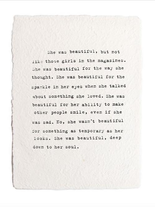 Handmade Paper- She Was Beautiful