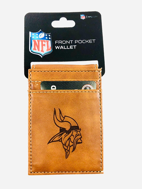 Minnesota Vikings Vegan Leatger Front Pocket Wallet