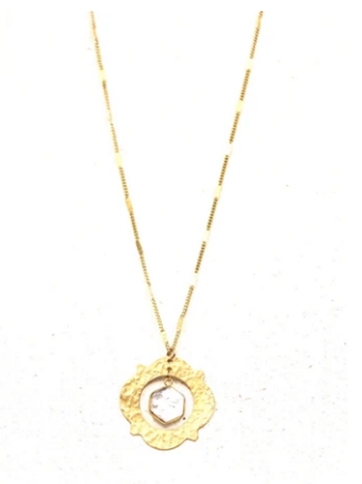 White Stone Necklace- Long