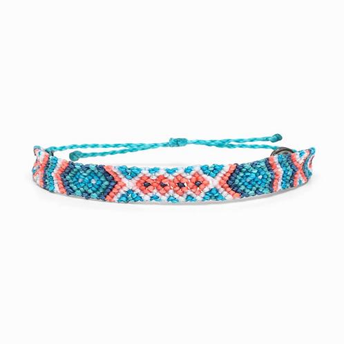 Puravida Macrame Friendship Bracelet- Teal/Pink