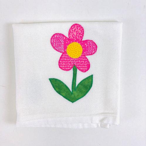 Handmade Pink Flower Dish Towel