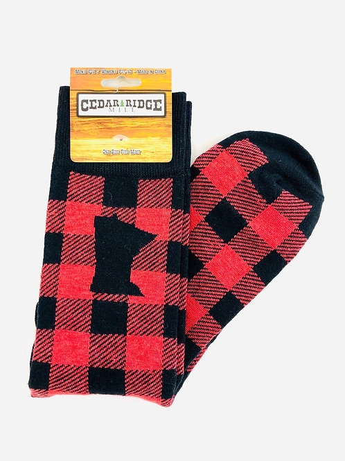 Men's Minnesota Buffalo Plaid Socks