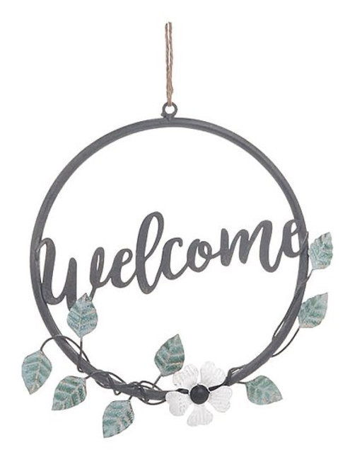 Metal Floral Welcome Wreath
