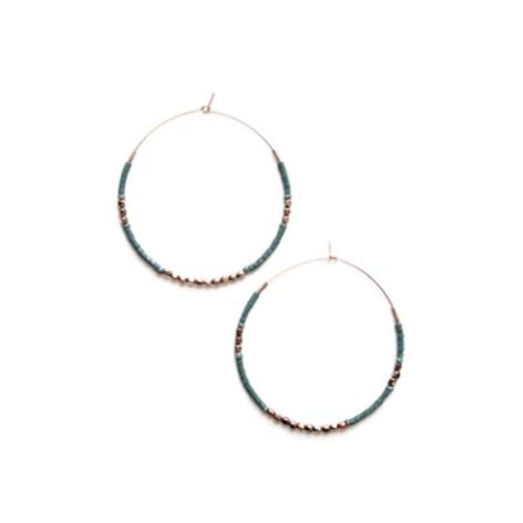 Beaded Hoop Earrings- Blue