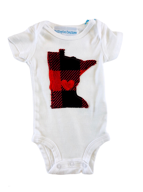 Minnesota baby Onesie- Buffalo Plaid
