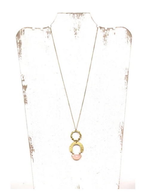 Pink Stone Necklace- Long