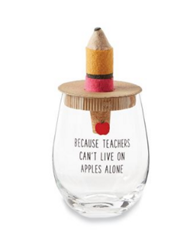Apples Alone Stemless Wine Glass and Wine Stopper