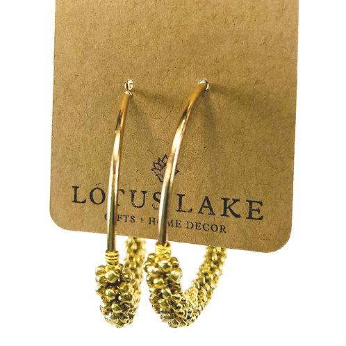 Beaded Hoop Earrings- Gold