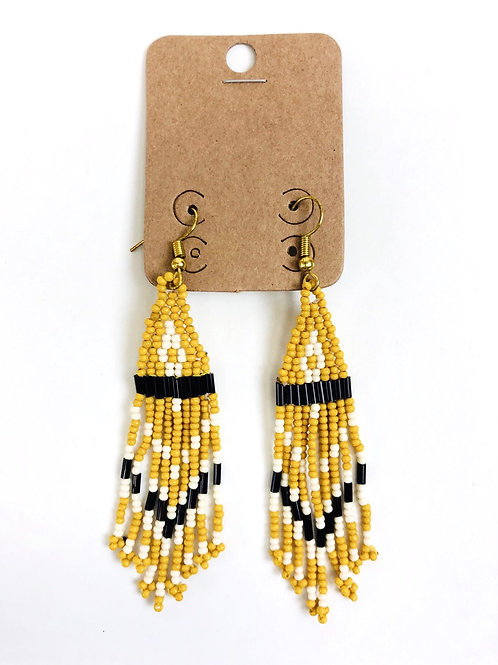 Beaded Triangle Tassel Earrings- Yellow
