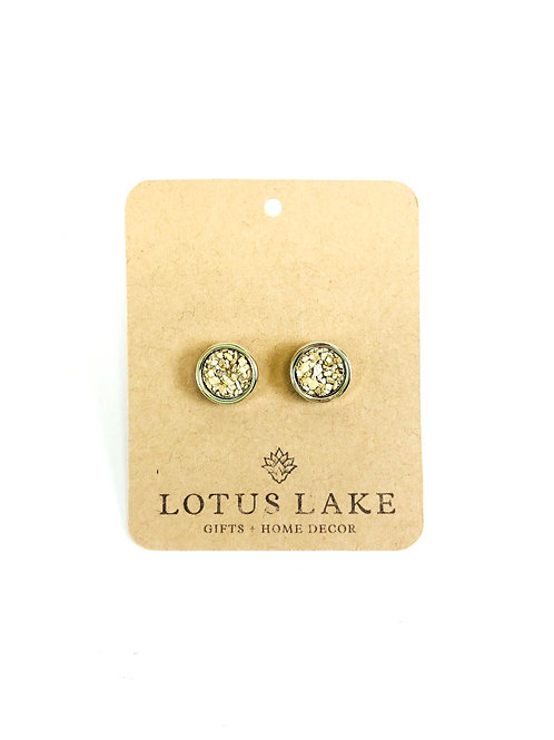 Gold/Cork Stud Earrings