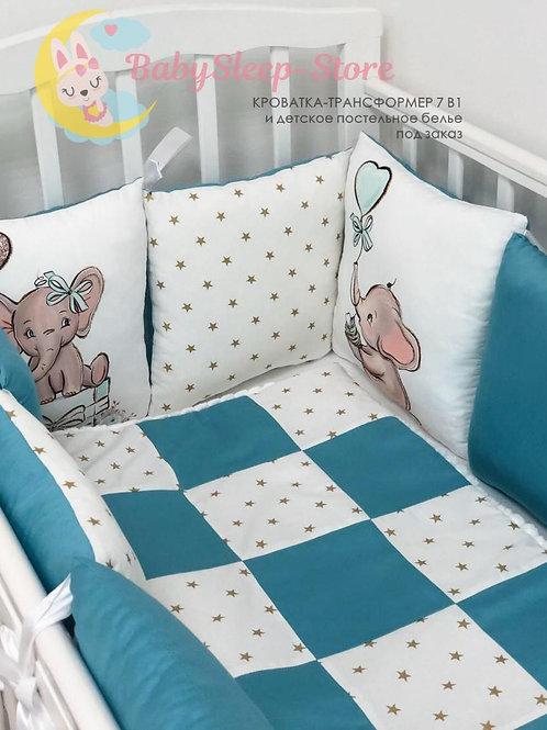 Бортики из сатина в детскую кроватку