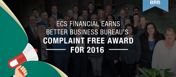 ECS Financial Services Earns Better Business Bureau's Complaint Free Award for 2016