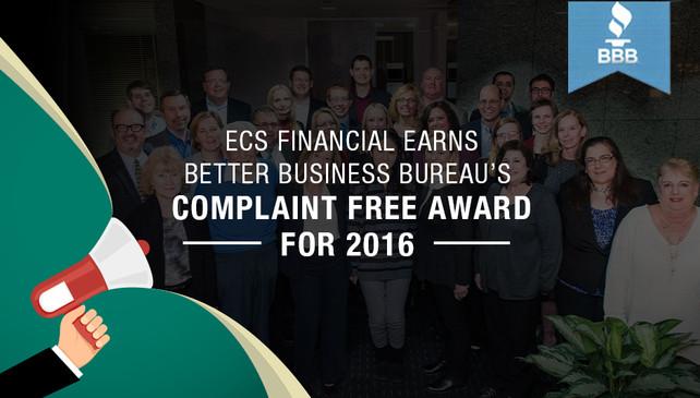 ECS Financial Services Earns Better Business Bureau's Complaint Free Award for 2016