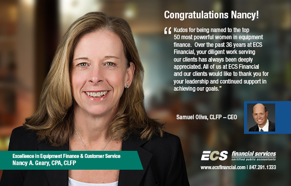 ECS Shareholder, Nancy Geary, CPA, CLFP recognized as one of the top women in equipment finance