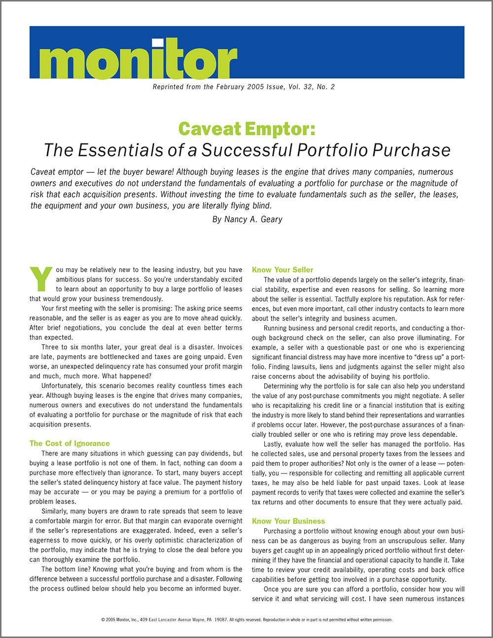 Article: Essentials of a Successful Portfolio Purchase