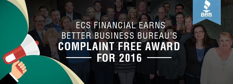 ECS Earns BBB Complaint Free Award