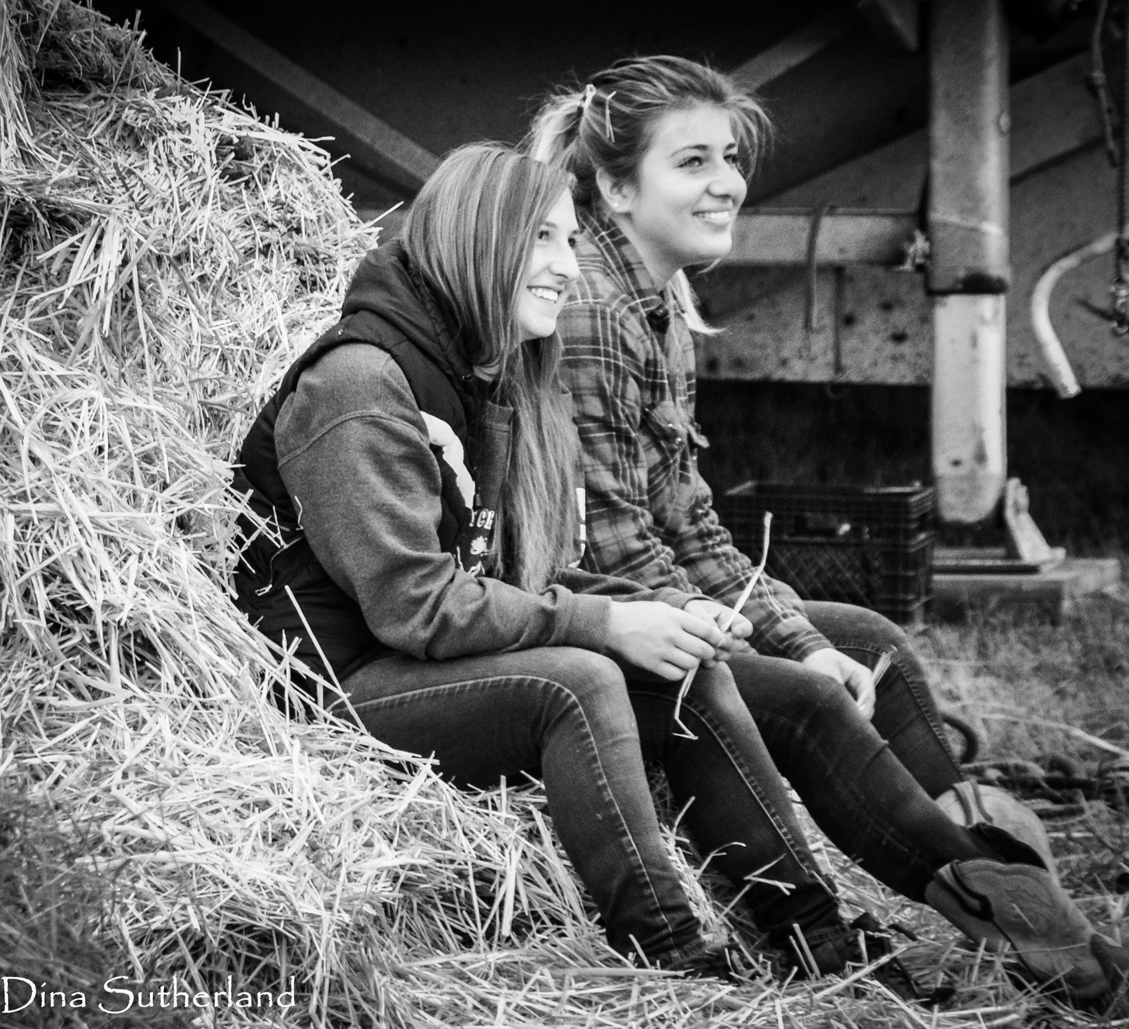 Dawson Creek 2016 - Dareyne and Becca in hay-0248