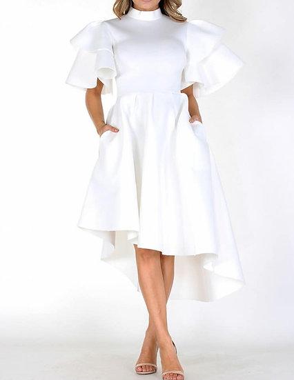 White Hi Lo Asymmetric Dress