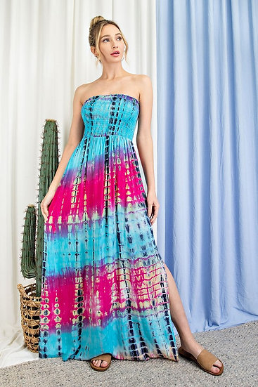 Turquoise Tie Dye Maxi Dress