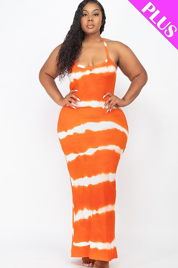 Plus Orange Stipe Tie Dye Maxi