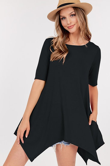 Black Asymmetric Tunic Top with pockets
