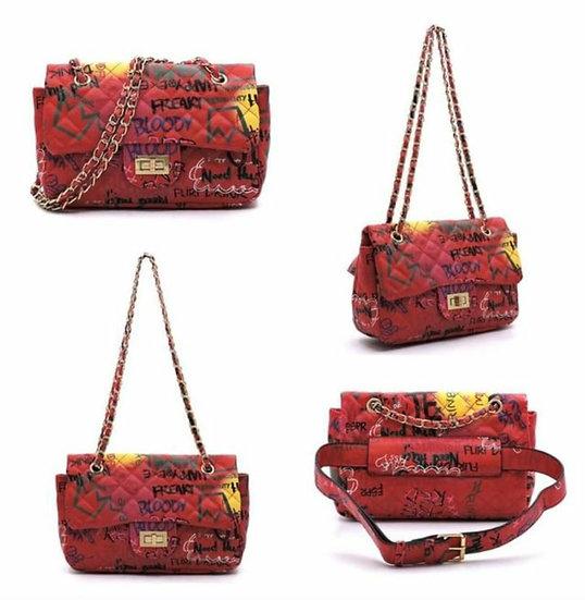 Red Graffiti Faux Leather Handbag