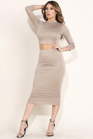 Nude Midi Skirt Set